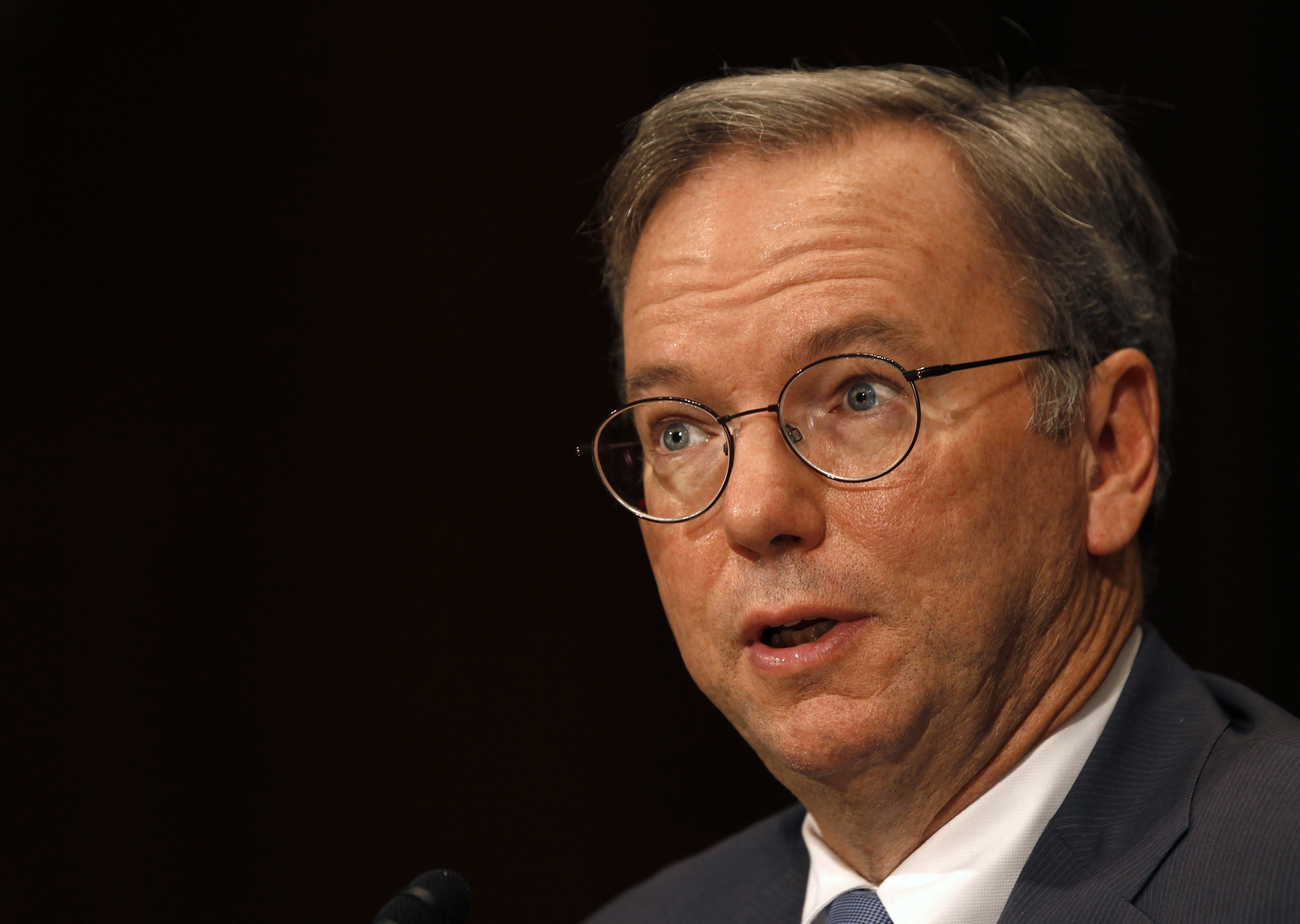 Executive Chairman of Google Eric Schmidt testifies before a Senate Judiciary Subcommittee hearing in Washington