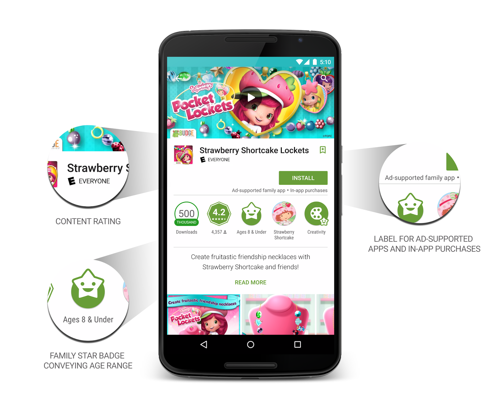 Google play gets a family friendly section with content Play app