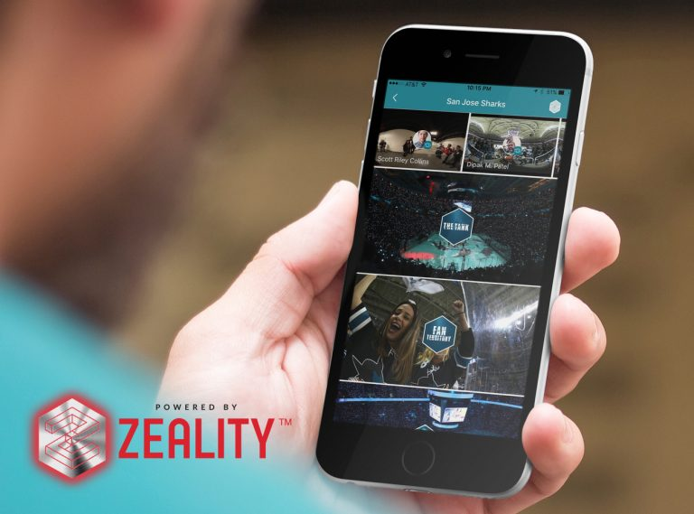 A person using the social media VR app from Zeality to view content from the San Jose Sharks hockey team.