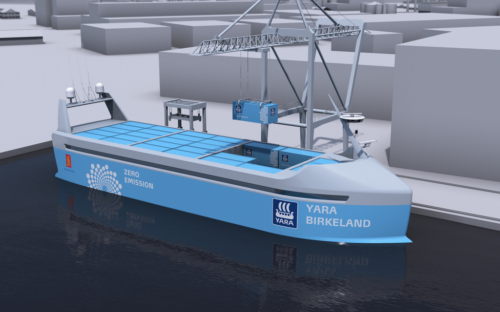 The world's first electric, autonomous cargo ship is being constructed in Norway