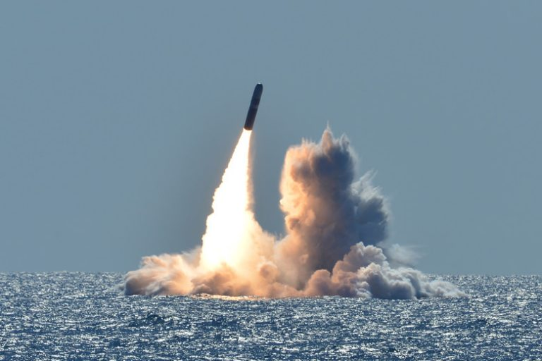180326-N-UK333-005 PACIFIC OCEAN (March 26, 2008) An unarmed Trident II D5 missile launches from the Ohio-class ballistic missile submarine USS Nebraska (SSBN 739) off the coast of California. The test launch was part of the U.S. Navy Strategic Systems Program's demonstration and shakedown operation certification process. The successful launch certified the readiness of an SSBN crew and the operational performance of the submarine's strategic weapons system before returning to operational availability. (U.S. Navy photo by Mass Communication Specialist 1st Class Ronald Gutridge/Released)