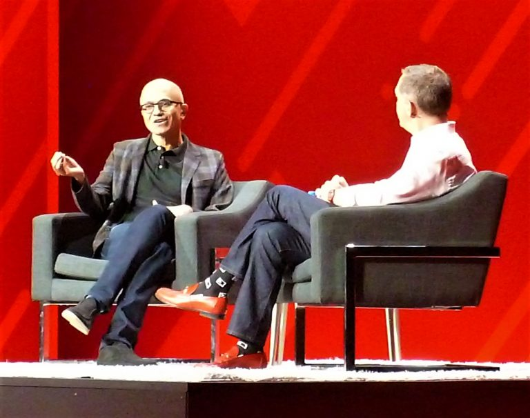 Microsoft CEO Satya Nadella and Red Hat CEO Jim Whitehurst at Red Hat Summit 2019 in Boston