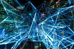 Blue light time lapse network-like image