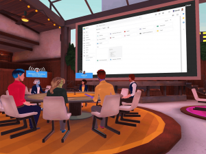 A virtual meeting at a round table with a giant screen in a small conference room via the Teooh app.